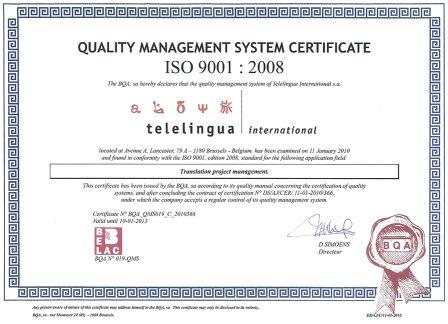 Telelingua International behaalt certificaat ISO 9001:2008